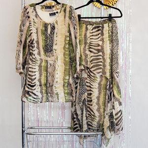 3pc Animal print skirt and blouse set, OX 14/16